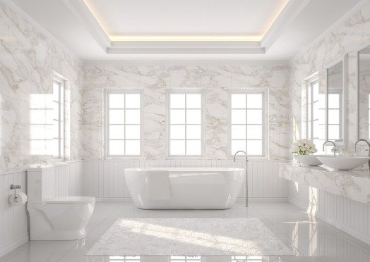tiling in a white and bright bathroom at Bunbury Tilers